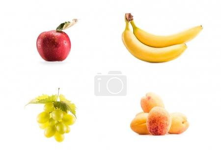collage with fresh fruits