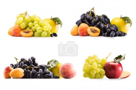 Photo for Collage with fresh grapes, apples, apricots and peach isolated on white - Royalty Free Image