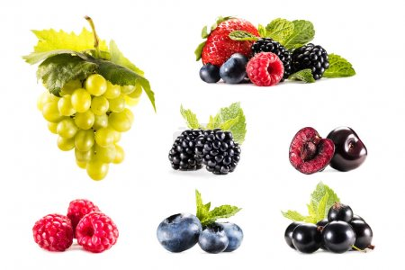 Photo for Collage with various fresh grapes and berries isolated on white - Royalty Free Image