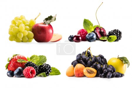 collage with various fruits and berries