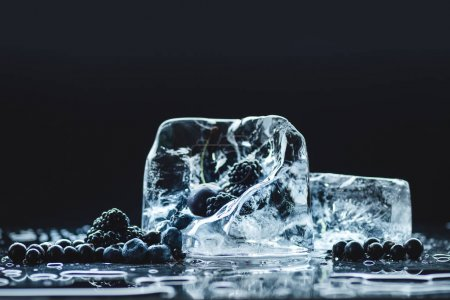 Photo pour Vue rapprochée des bleuets mûrs et des mûres avec des cristaux de glace fondus transparents sur noir - image libre de droit