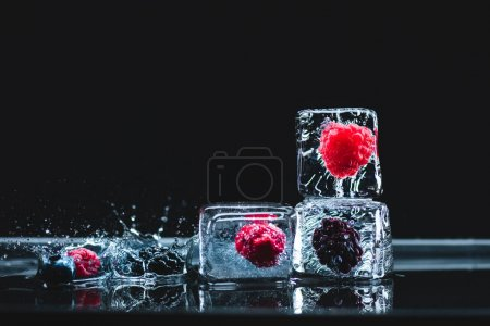 Photo pour Baies mûres congelées dans des cristaux de glace transparente et gouttes d'eau sur fond noir - image libre de droit