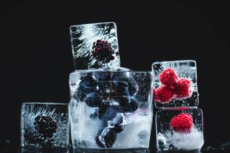 frozen fruits in ice cubes