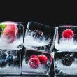 Close-up view of ripe juicy berries frozen in ice ...