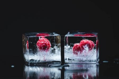 Photo for Close-up view of ripe juicy raspberries frozen in ice cubes on black - Royalty Free Image
