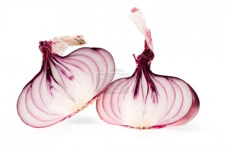 Photo for Halves of fresh ripe red onion isolated on white - Royalty Free Image