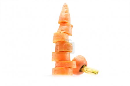 stack of fresh sliced carrot