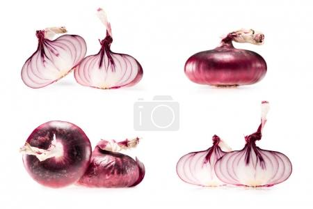 Photo for Collage of fresh ripe onion and halves isolated on white - Royalty Free Image