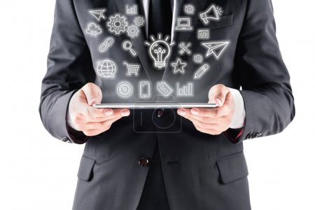 businessman with tablet with virtual image