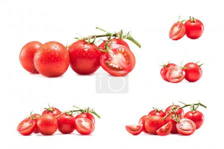 Photo for Collection of fresh red cherry tomatoes isolated on white - Royalty Free Image