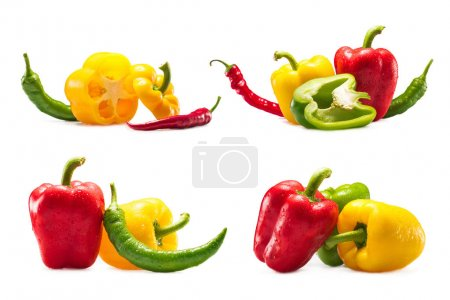 Photo for Collection of different fresh chili and bell peppers isolated on white - Royalty Free Image