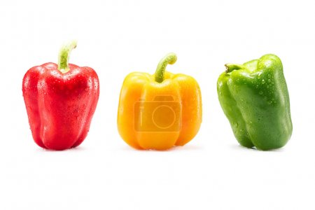 Photo for Different colorful fresh bell peppers isolated on white - Royalty Free Image