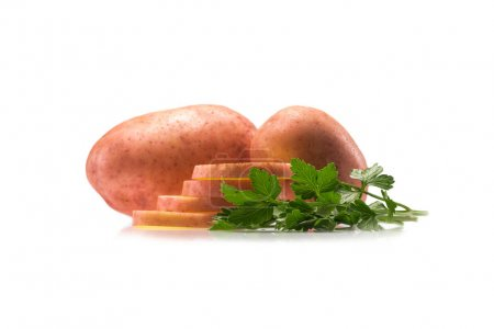 raw potatoes and parsley