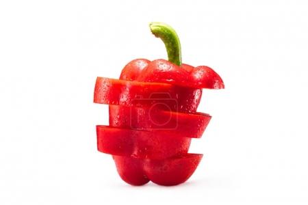 Photo for Sliced red bell pepper isolated on white - Royalty Free Image