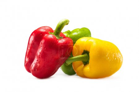 Photo for Green, red and yellow fresh bell peppers isolated on white - Royalty Free Image