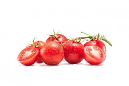 Photo for Fresh ripe cherry tomatoes isolated on white - Royalty Free Image