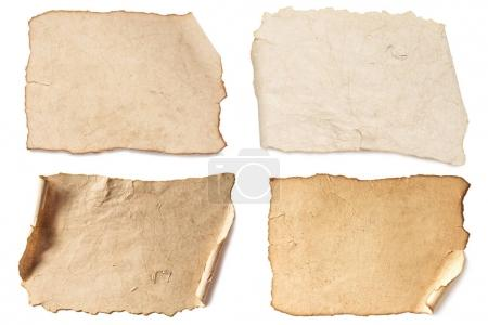 Photo for Various blank brown papers collection isolated on white - Royalty Free Image
