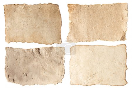 Photo for Various blank aged papers collection isolated on white - Royalty Free Image