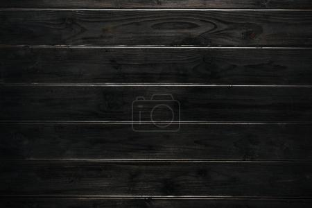 Photo for Horizontal black wooden texture with planks - Royalty Free Image
