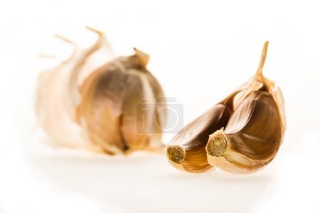 Photo for Healthy peeled garlic cloves isolated on white - Royalty Free Image