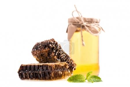 honeycombs with mint and glass jar