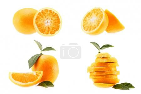 Photo for Collection of fresh juicy oranges, isolated on white - Royalty Free Image