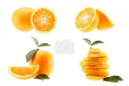 Photo pour Collection de frais Orange juteuse, isolé sur blanc - image libre de droit