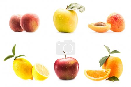 Photo for Collection of different fresh fruits, isolated on white - Royalty Free Image