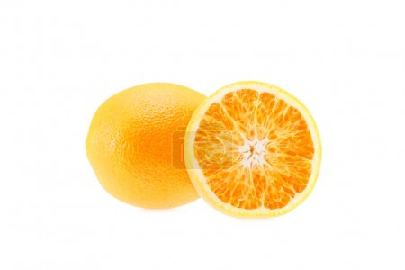 Photo for Raw fresh juicy oranges, isolated on white - Royalty Free Image