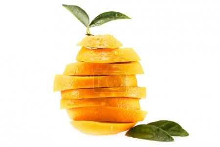 sliced orange with leaves