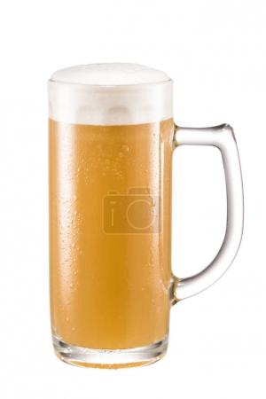 Photo for Close up view of glass of fresh beer isolated on white - Royalty Free Image