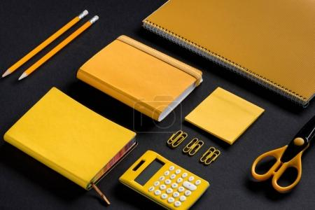 Photo for Isometric mockup composition of yellow school supplies - Royalty Free Image