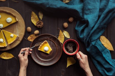 Woman eating pumpkin tart