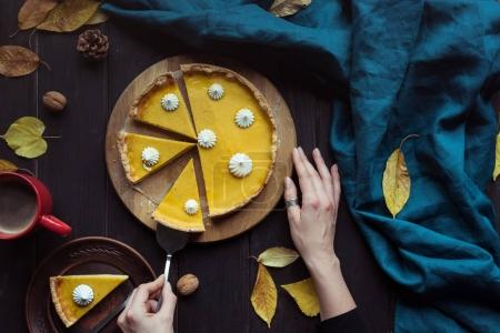 Female hands taking piece of pie