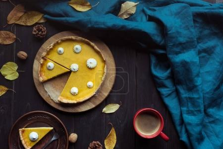 pumpkin tart and autumn leaves