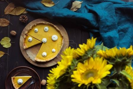 pumpkin tart and decorative sunflowers