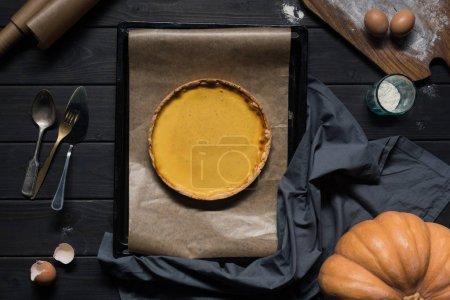 Pumpkin pie on baking tray
