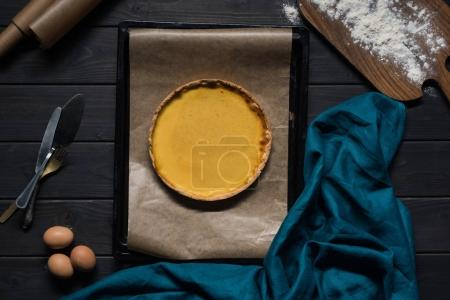 pumpkin pie on baking tray
