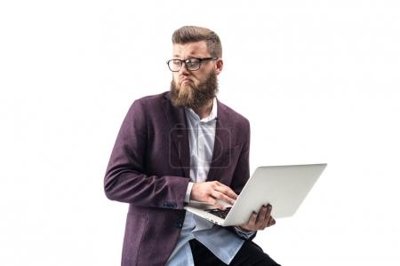 Businessman using laptop