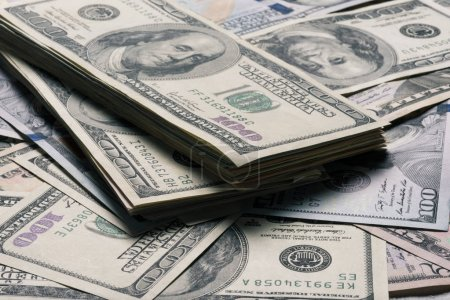 Close up view of dollar banknotes background...