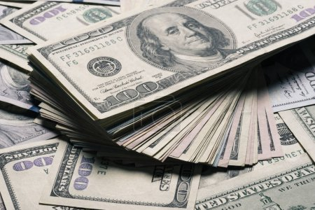 Photo for Close up view of dollar banknotes background - Royalty Free Image