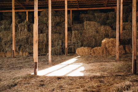 Photo for Stacked hay in agricultural stall at farmhouse - Royalty Free Image