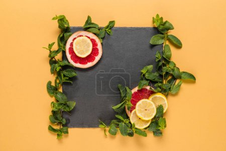 Mint leaves and citrus slices