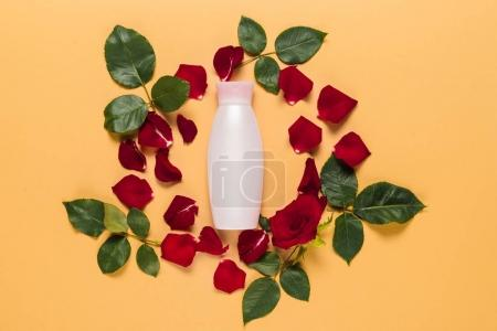 lotion in floral frame