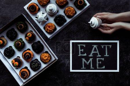 halloween cupcakes and inscription