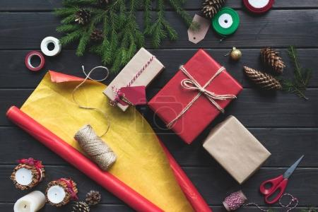 composition of christmas gifts