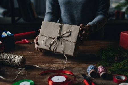 woman showing christmas gift