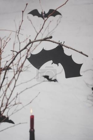decorative bats on dry branches