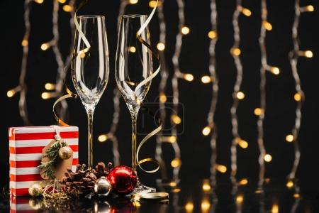 Wineglasses and christmas gift