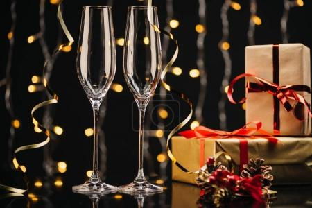 empty wineglasses and gifts